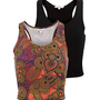2 Pack Black and Ethnic Paisley Print Crop Tops