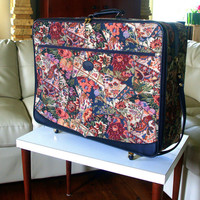 Huge VINTAGE TAPESTRY SUITCASE Large Organizer Luggage Floral Print Travel Bag in Needlepoint Carpet Bag Style with Rolling Wheels