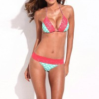 2 PCS Bikini Set Cute Dots Lace Top and Bottom Swimsuit