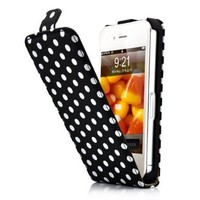 HM Black and White Polka Dot Pattern Magnet Flip Hard Leather Case For Apple iPhone 4S / 4 (AT&amp;T, Verizon, Sprint):Amazon:Everything Else