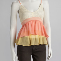 Peach & Off-White Crocheted Tank