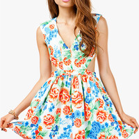 Asian Floral Cut Out Pouf Dress