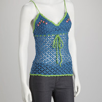 Blue & Green Crocheted Tank