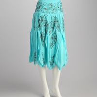 Teal Embroidered Handkerchief Skirt