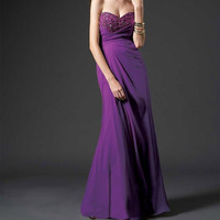 Chiffon purple evening dress party dress strapless sweetheart neckline with bust beading floor length gown