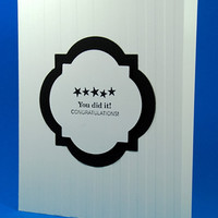 Handcrafted Black And White Graduation/Congratulations Greeting Card