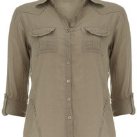 Khaki cotton button shirt