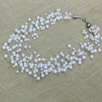 White Necklace Wedding Necklace Beadwork Beaded by RubatiJewelry
