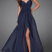 Silk chiffon evening dress party dress sweetheart-neck floor length gown