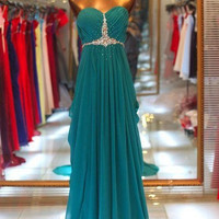 Gorgeous A-line Sweetheart Sweep Train Beaded Prom Dresses