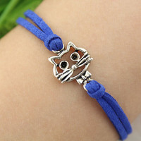 bracelet--lovely cat bracelet,antique silver charm bracelet,Sapphire blue cord,MORE COLOR