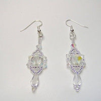 Elegant crystal drop beaded earrings