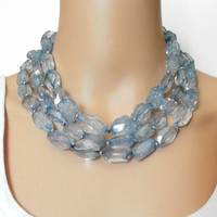 Statement Necklace Chunky Blue Quartz Crystal Multi Strand Bold Jewelry Rough Cut Denim Blue Gemstone Triple Strand Statement Jewelry