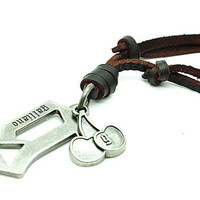 soft leather necklace,metal pendant men leather long necklace, women leather necklace   RZ0281