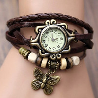 Lady Watch Vintage Style Wrist Watch Real Leather Bracelet, Handmade Women's Watch, Everyday Bracelet  PB038