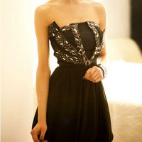 Black Bandeau Prom Dress with Beads Embellishment