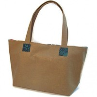 Tan Turquoise Blue Tote Bag | kathisewnsew - Bags & Purses on ArtFire