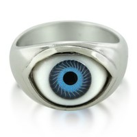 Sterling Silver Blue Evil Eye Good Luck & Protection Ring