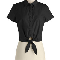 Bettie Page Little Black Tie Top | Mod Retro Vintage Short Sleeve Shirts | ModCloth.com
