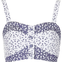 Contrast Floral Button Bralet - Tops - Clothing - Topshop