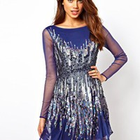ASOS Skater Dress With Graduated Sequins at asos.com