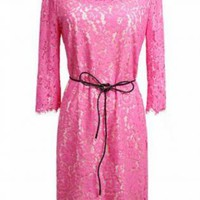 Romantic Pink Three Quarter Sleeve Dress w/belt