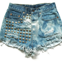 Levi Studded high waisted bleached shorts XS