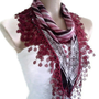 Necklace scarves, Traditional Turkish-style, Headband, scarf, Burgundy, pink and Ivory, fashion 2013, Mothers day