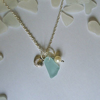 Aqua sea glass necklace with shell. Beach glass sea glass jewelry.