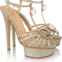 Charlotte Olympia | Leading Lady glitter-finished sandals | NET-A-PORTER.COM