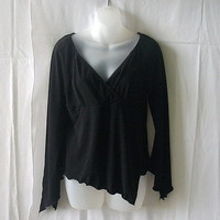 Suzy Shier long sleeve black medium top with asymmetrical front & split sleeves