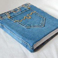 Denim Jean Journal with Pockets - Gem and Rhinestud - Flannel Lined | CraftyDayDreams - Paper/Books on ArtFire