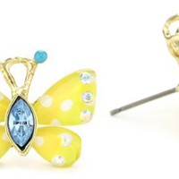 "Betsey Johnson ""Hawaii Luau"" Butterfly Stud Earrings"