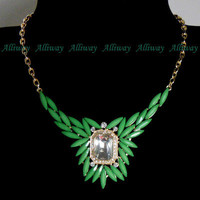 Fashion Golden Chain green resin beads and rhinestone Necklace al0292