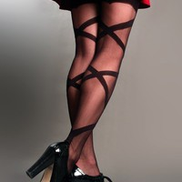 Woven Sheer Thigh-High Stockings
