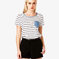 Chambray Trim Striped Tee