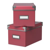 "KASSETT Box with lid, dark pink - dark pink - 6 ¼x10 ¼x6 "" - IKEA"