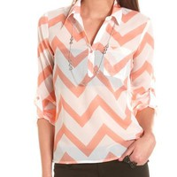 Chevron Stripe Roll-Cuff Blouse: Charlotte Russe