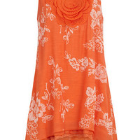 Orange rose bib tunic