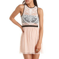 Embroidered Mesh A-Line Dress: Charlotte Russe
