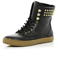 Black stud lace up high tops - shoes / boots - sale - women