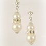 Art Deco 1920s Swarovski Pearl Rhinestone Wedding Earrings, Crystal Pearl Bridal Earrings, Pearl Sterling Silver Earstuds