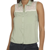 Lace Yoke Sleeveless Shirt | Shop Tops at Wet Seal