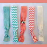 5 Elastic HAIR TIES Aqua and Coral Chevron with Turtle Charm Bead - No Tug, No Dent,  Beach Yoga