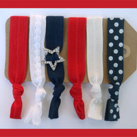6 Elastic HAIR TIES Red White and Blue, Polka Dot Print & Star Rhinestone Memorial Day Holiday Set, No Tug, No Dent,  Yoga