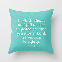 Psalm 4:8 v2 Throw Pillow by cooledition