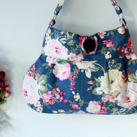Summer Floral Bag Dark Blue shoulder bag, cotton bag, hobo purse
