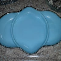 Blue Fire King Divided Relish Dish