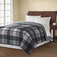 Walmart: Mainstays Plaid Comforter, Black/Grey