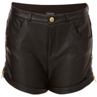Zip Side Leather Look Shorts